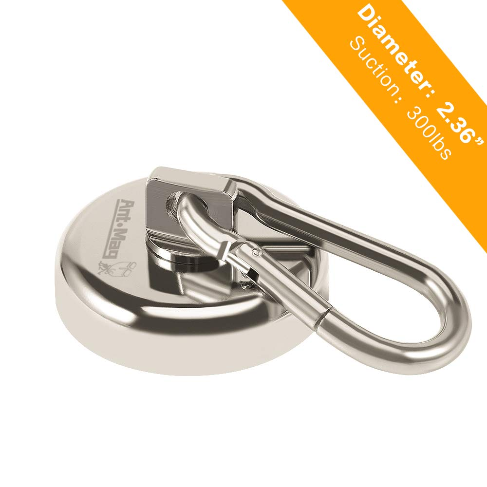 Ant Mag Carabiner Fishing Magnet Hook 330LBS Heavy Duty Neodymium Magnetic Hook with Swivel Carabiner Snap for Indoor/Outdoor Hanging Bagnet Grill Purse Factory Magnet Fishing