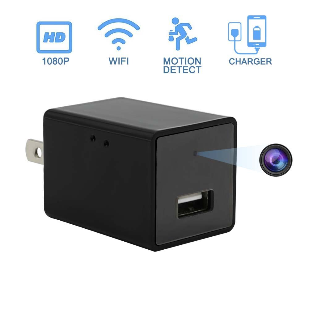 Hidden Camera Charger Adapter, EOVAS Wifi Spy Camera HD 1080P USB Wall Charger Camera Nanny Cam with Motion Detection Support IOS/Android Remote View (New Version)