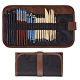 Polymer Clay Tools, 24 Pcs Modeling Clay Sculpting Tools with Assorted Shape&Size, Include Dotting Tools, Wooden Ceramics Tools, Rubber Tips Pen, Ball Stylus, Plastic modeling tools, 1 Case