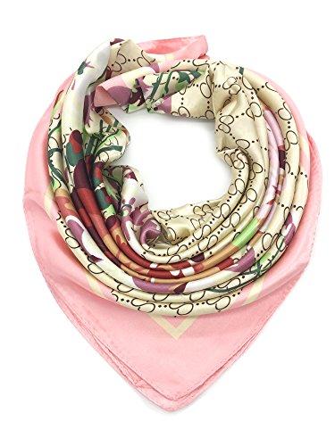 YOUR SMILE Silk Like Scarf Women's Fashion Pattern Large Square Satin (Womens Fashion Scarf)