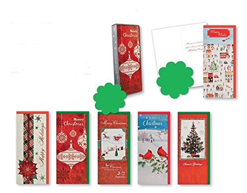 Christmas Holiday Boxed Cards Traditional Xmas Box Set Assorted with 6 Different Embellished Cards That Include Glitter Finishes Christmas Balls, Poinsettia, Tree, and Birds w/ Sentiment Inside 12ct.
