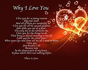 Personalised Why I Love You Poem Birthday Valentines Day