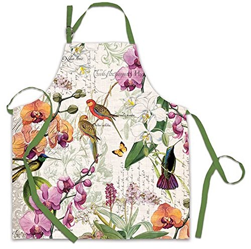 Michel Design Works Cotton Chef Apron, Orchids in (Orchid Dinner)