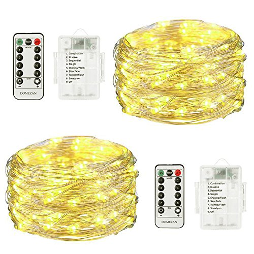 Fairy Lights Battery Operated Waterproof DOMEZAN, 2 x 16.4ft Copper Wire 50 LED String Lights Twinkling Fairy string Lights Dimmable with Remote Control (Timer) Warm White from DOMEZAN