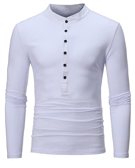 62590a9b0ec65 LD Mens Classic Long Sleeve Cotton Solid Color Henley Shirts at Amazon  Men s Clothing store