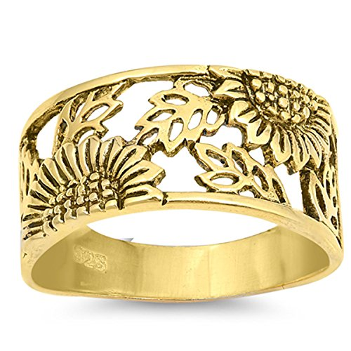 Prime Jewelry Collection Sterling Silver Women's Filigree Flower Leaf Daisy Gold-Tone Sunflower Ring (Sizes 5-10) (Ring Size 6)