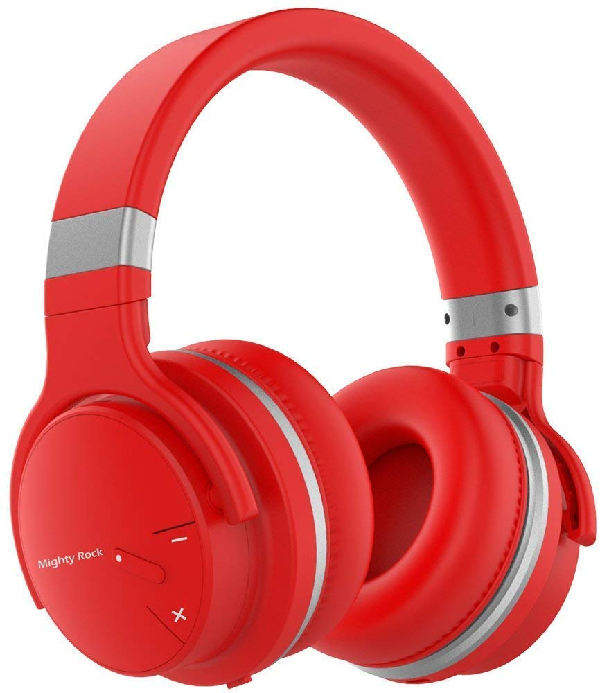 Meidong E7C Active Noise Cancelling Headphones Over Ear Bluetooth Headphones Hi-Fi Deep Bass Wireless Headphones with Microphone Built-in and 30H Playtime for Travel -Red