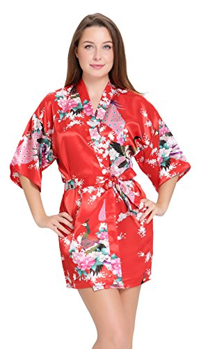 Aibrou Women's Kimono Robes Satin Peacock and Blossoms Silk Nightwear Short Style (Womens Red Kimono)