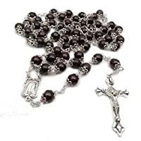 Catholic The Rosary Dark Red Garnet Beads with Metal Cup Necklace Cross Medal 8MM