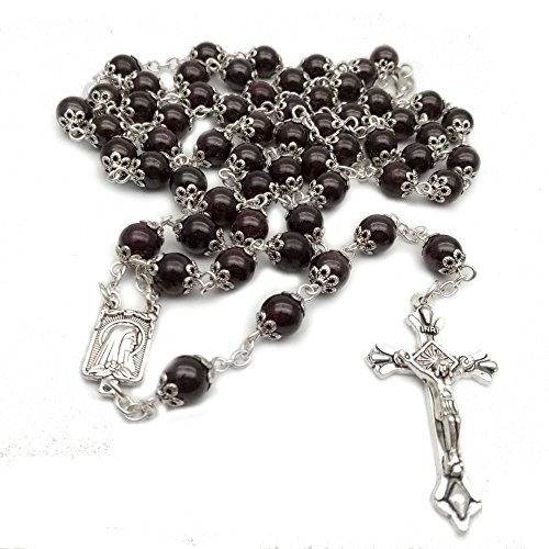 catholic-the-rosary-dark-red-garnet-beads-with-metal-cup-necklace-cross-medal-8mm