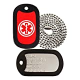 Military Dog Tags - Custom Embossed Dog Tag Set - Medical Alert Logo - Tag-Z
