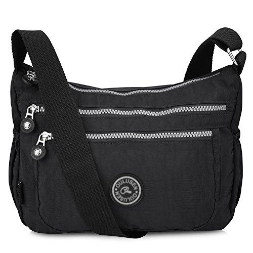 Vbiger Multi Pocket Casual Handbag Travel Bag Messenger Cross Body Bag G-black
