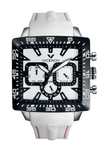 Viceroy Women's 432101-05 Black White Square Rubber Date Watch
