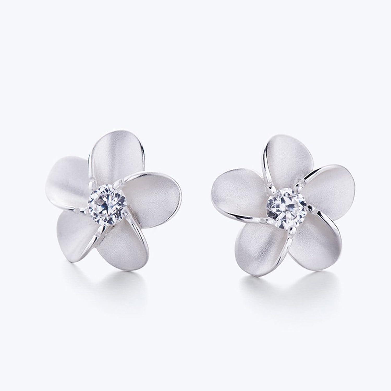 Amazon 925 sterling silver plumeria w maile leaf cz ring eove jewelry women sterling silver hawaiian plumeria flower cubic zirconia stud earrings izmirmasajfo