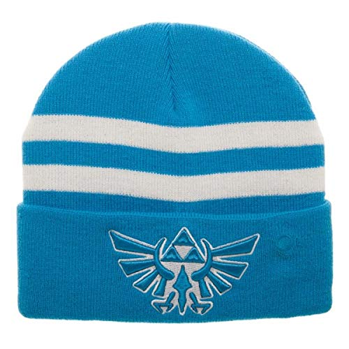Bioworld Legend of Zelda Hyrule Fiber Optic Embroidered Acrylic Beanie Blue