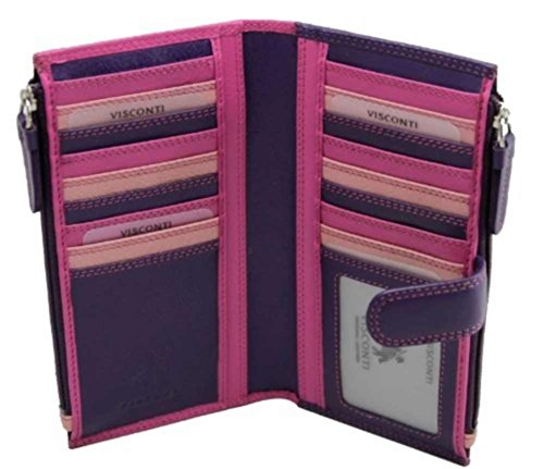 Visconti Bermuda RB100 Multi Color Womens Soft Leather Large Wallet/Purse/Clutch (Pink)