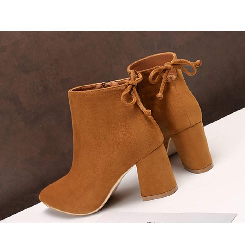 Damen Damen Blockabsatz Stiefeletten Spitz Faux Wildleder Bogen Reißverschluss Reißverschluss Reißverschluss Herbst Winter Stiefelies Büro Schuhe 586919