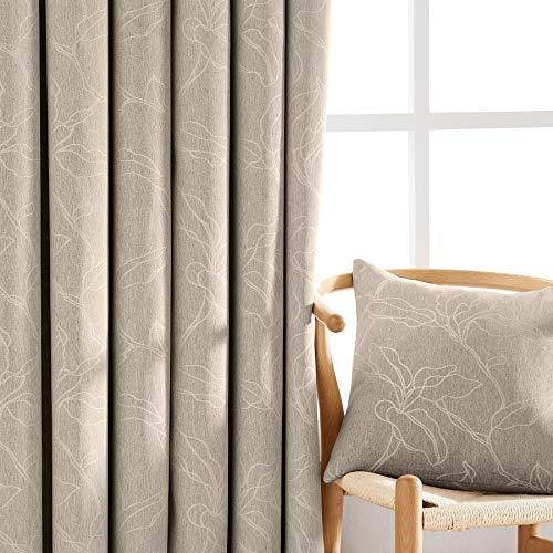 NATWIN Leaf Linen Blackout Curtains 84-inch Taupe Country Farmhouse Curtains Room Darkening Jacquard Window Drapes for Bedroom 2 Panels Tan 7ft