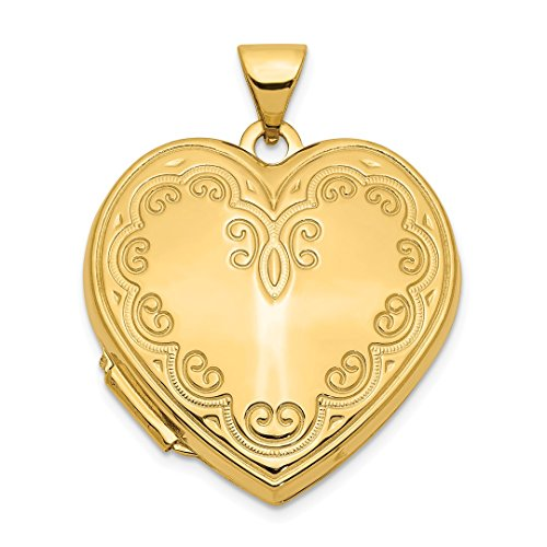 14k Yellow Gold Heart Photo Pendant Charm Locket Chain Necklace That Holds Pictures Fine Jewelry For Women Gift Set -
