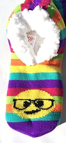 Smart Emoji Face Rainbow Slipper Sock w/ Grippers Faux Fur Lined Size 5-10