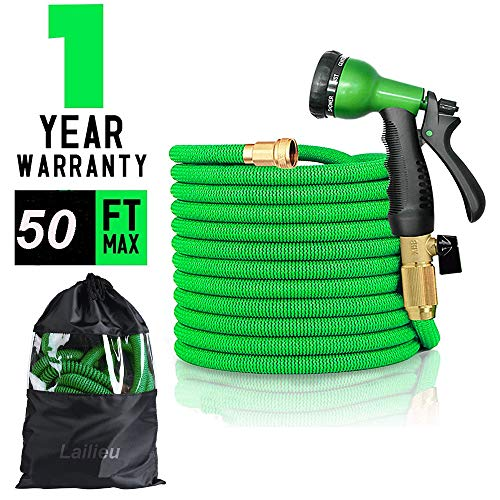 Lailieu Expandable Garden Hose,50ft Expanding Flexible Garden Hoses with Triple Layer Latex Lightweight Water Hose & Latest Improved Extra Strength Fabric with 8 Functions Spray Nozzles