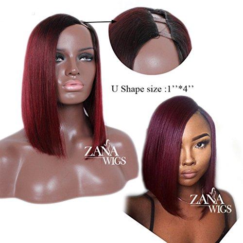 ZANA U Part Human Hair Wigs Short Bob Style Wigs for Black Women Side Part U Shape 1x4