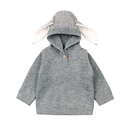 G-real Baby Sweater Outfits, Newborn Infant Baby Boys Girls Cartoon Ear Knitted Hooded Tops Sweater Christmas Cute Blouse -