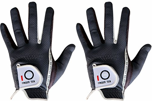 FINGER TEN Men's Golf Glove Rain Grip Pair Both Hand or 2 Pack Left Right Hand, Hot Wet Weather No Sweat, Black Gray Green, Fit Size Small Medium Large XL (M/Large Black, 1 Pair)