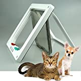 4-Way Locking Indoor Outdoor Pet Door Kit for Cat and Small Dog with Telescopic Frame 3 Sizes and 2 Colors to Choice (L, White)
