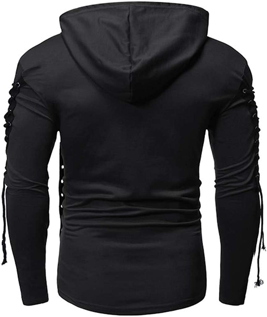 LauVery Mens Hooded Sweatshirt Sweater Coat Tops Long Sleeve Loose Button Pocket Blouse