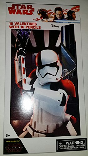Price comparison product image 16 Star Wars The Last Jedi Valentine Day Sharing Cards with Pencils