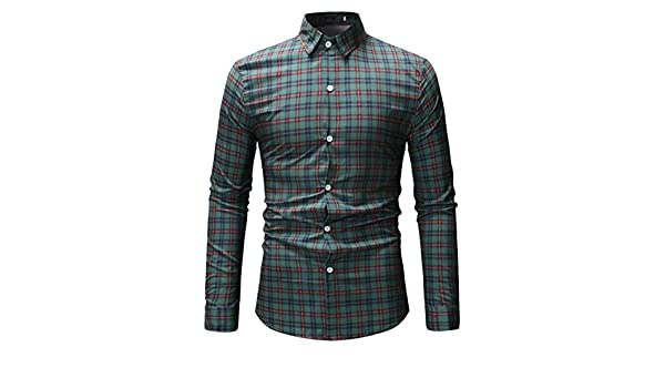 FSSE Mens Checkered Button Up Plus Size Casual Long Sleeve Dress Work Shirt