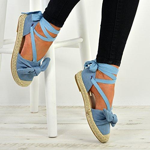 Womens Bow 8 Shoes Wrap Ladies Flats Ankle up Blue Espadrille Cucu Size Fashion New UK Lace 3 xIPwEv