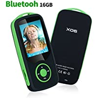 Mp3 Player with Bluetooth 16GB Music Player Support up to 64GB-Green by Niusute