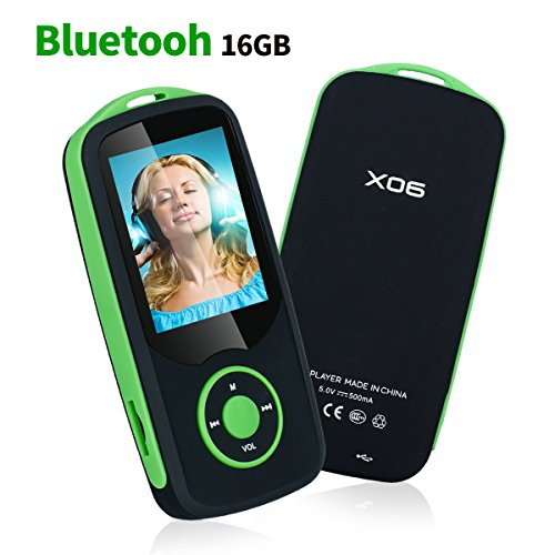 Mp3 Player with Bluetooth 16GB Music Player Support up to 64GB Green by Niusute