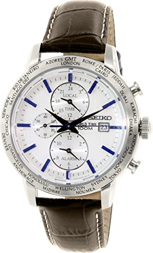 Seiko SPL051 P1 White Dial Brown Leather Band World Time Alarm Men's Analog Quartz Watch (Leather White Watch Dial)