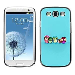 FECELL CITY // Duro Aluminio Pegatina PC Caso decorativo Funda Carcasa de Protección para Samsung Galaxy S3 I9300 // Owl Smart Blue Baby Kids School Teacher
