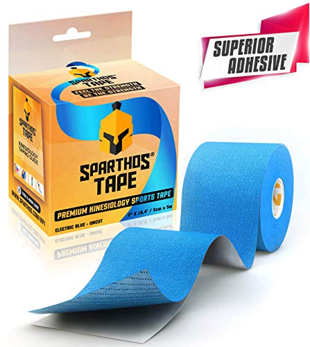 Spartan Tape Kinesiology Tape - Incredible Support for Athletic Kt Sports and Recovery - Free Kinesio Taping Guide! - Cinta Kinesiologica Rocktape Waterproof Tex Rock Gold Lift Tapes - Uncut (Blue)