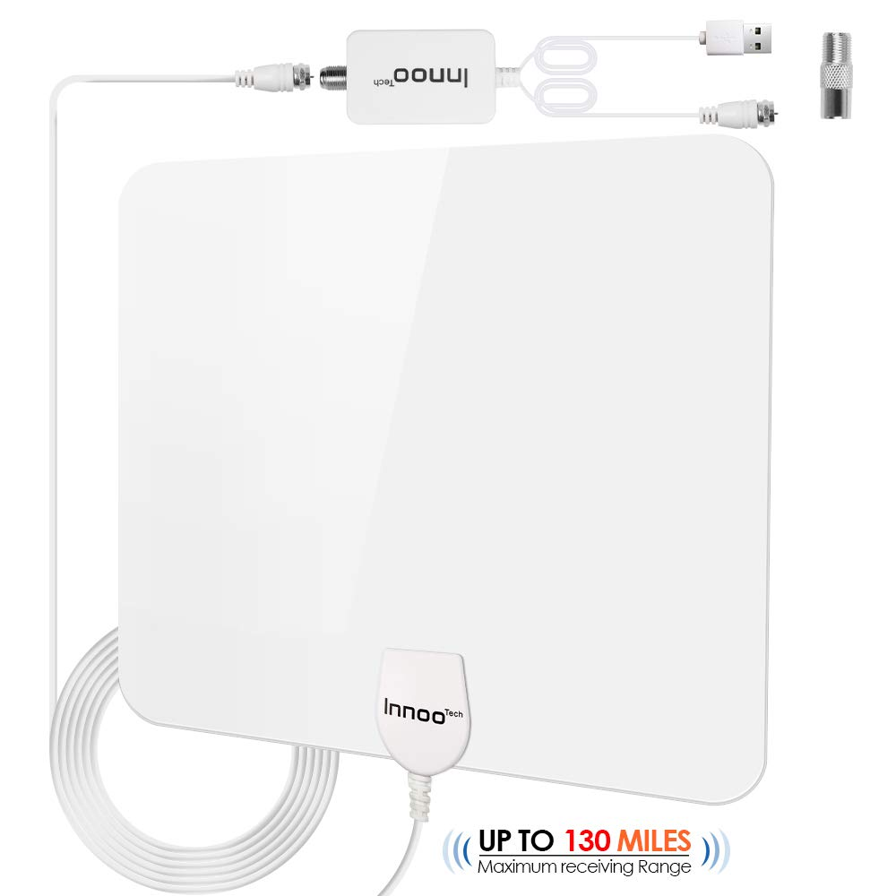 Innoo Tech TV Antenna - HD Antenna Support 4K 1080P, 80-130 Miles Range Digital Antenna for HDTV, VHF UHF Freeview Channels Antenna with Amplifier Signal Booster, 16.5 Ft Longer Coaxial Cable, White