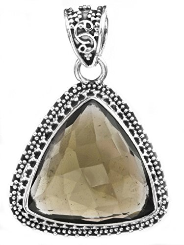 Silver Sterling Faceted Pendant (Faceted Triangle Gemstone Pendant - Sterling Silver - Color Smoky Quartz)