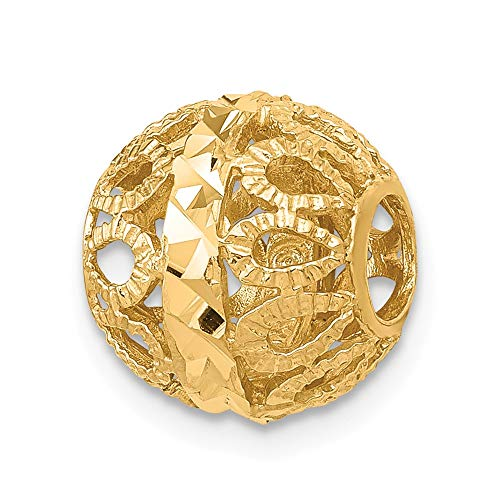 14K Yellow Gold Diamond-Cut Filigree Ball Chain Slide, 10mm (3/8 inch) ()