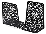 EasyPAG 6.5 Inch Desktop Bookends Carved Hollow Flower Pattern Design ,Black