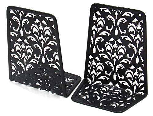 EasyPAG 6.5 Inch Desktop Bookends Carved Hollow Flower Pattern Design,Black - Top Carved End Table