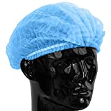 2000 PCS Non Woven Disposable Bouffant Hair Shower Cap Pleated Anti Dust Net Blue Strip Hat Salon,21'',Doubleribs