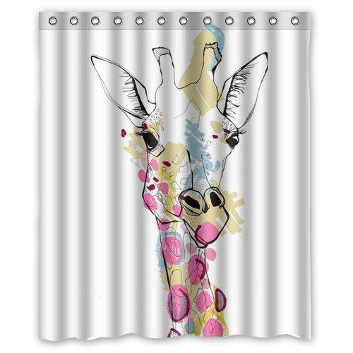 Chic Custom Unique Design Animal Giraffe Waterproof Fabric Shower Curtain 72 By 60 Inch