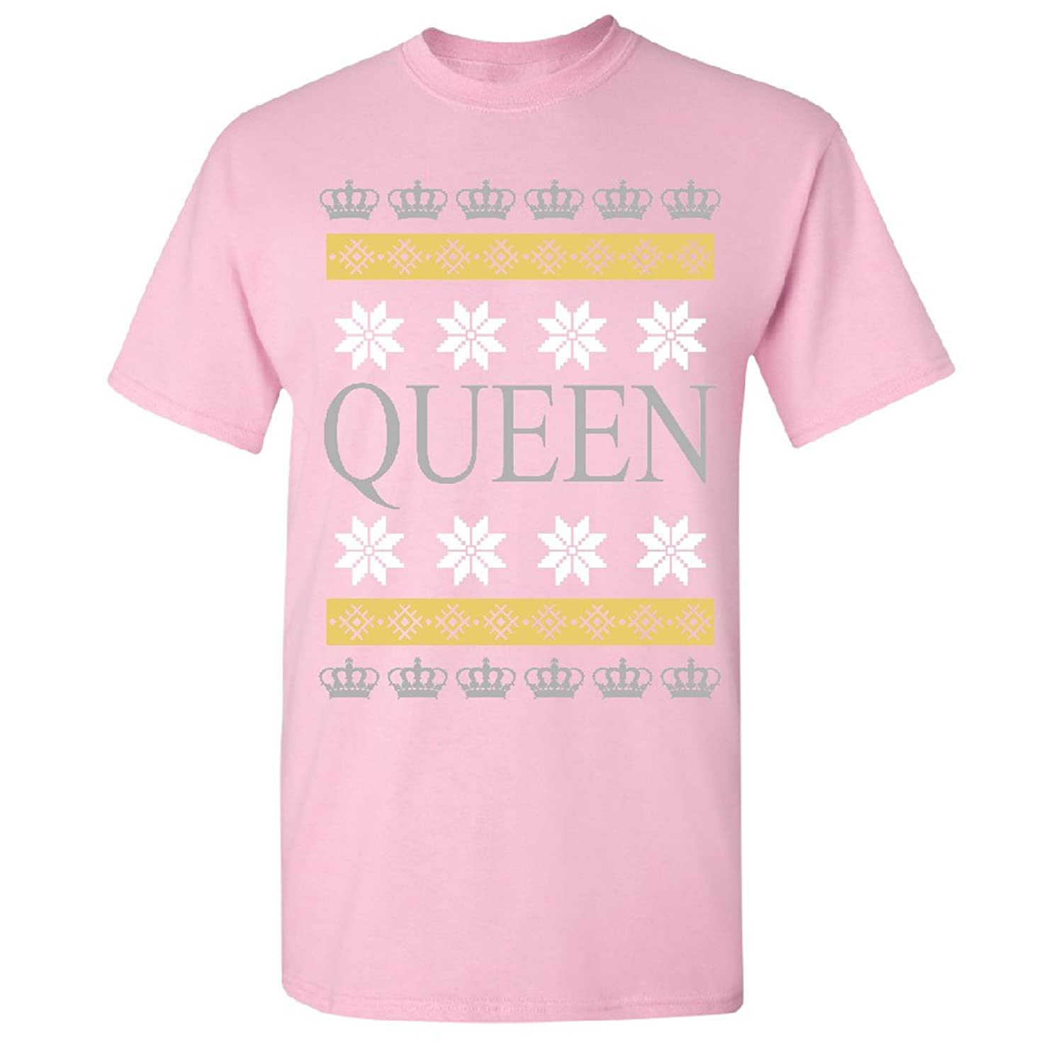 Queen Ugly Sweater Unisex T-shirt Glitter Crown Ladies Couple Tee