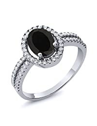 1.85 Ct Natural Oval Black Onyx 925 Sterling Silver Women's Ring (Available in size 5, 6, 7, 8, 9)