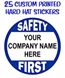 (25-pack) Custom Printed Safety First Hard Hat Stickers | Customize with Your Personalized Company Text | Business Name | Decals Labels Badges Forman Construction