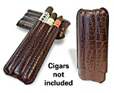 Cigar Case Mike's Travel Cigar Leather Pouch - Holds 3 Cigars - Brown offers
