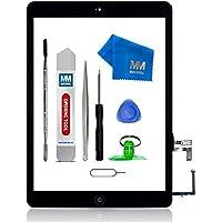 MMOBIEL Digitizer Display Glas für IPad Air (Schwarz) 9.7 Inch Touchscreen Ersatzteil Inkl Flex Home Button + Kamera Halterung + Klebesticker und Werkzeugset mit Anleitung